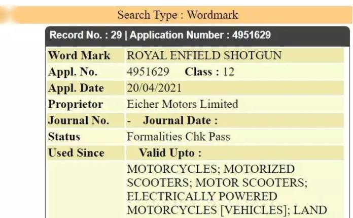 We suspect that Royal Enfield is likely to use 'Shotgun' as a name for its new 650 cc motorcycle