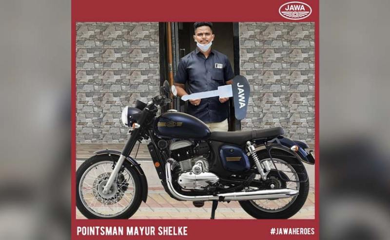 Jawa Motorcycles presented Railways hero Mayur Shelke with a new Jawa Forty Two