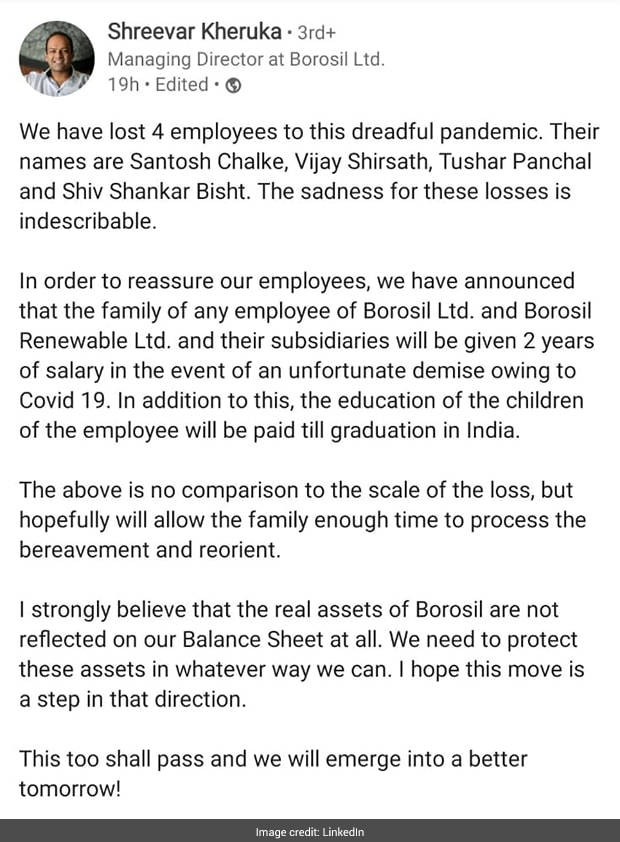Borosil Stands Strong By The Families Of Employees Who Succumbed To Covid; Internet Lauds