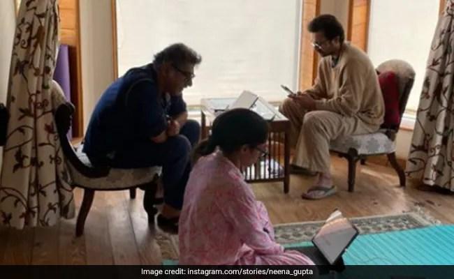 नीना गुप्ता के घर में वर्क फ्रॉम होम सीन - पति विवेक मेहरा, बेटी मसाबा और उनके बॉयफ्रेंड सत्यदीप मिश्रा