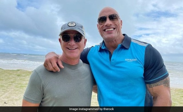 In This Pic Of Dwayne Johnson And Jeff Bezos - One Went To Princeton, The Other...