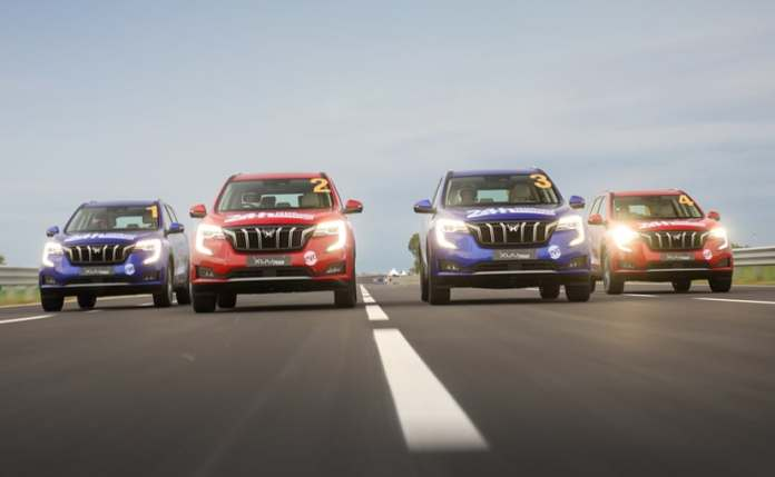 Four Mahindra XUV700s clocked over 4000 km in 24 hours, at an average speed range of 170-180 kmph