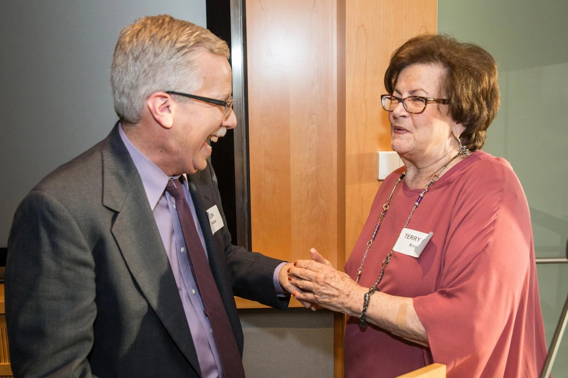06/14/2017 BOSTON, MA Jon Keller (cq) (left) and Terry Ann Knopf (cq) attend a cocktail party at WGBH studios. (Aram Boghosian for The Boston Globe)
