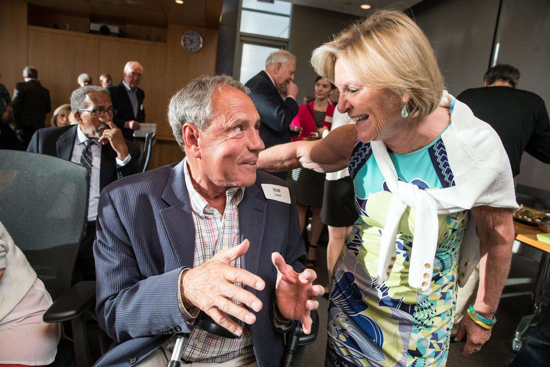 06/14/2017 BOSTON, MA Bob Lobel (cq) (left) and Emily Rooney (cq) attend a cocktail party at WGBH studios. (Aram Boghosian for The Boston Globe)