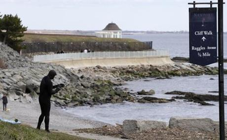 Dave Livingston of Newport, R.I., at the shoreline near Ruggles Avenue, an area considered prime for surfing.