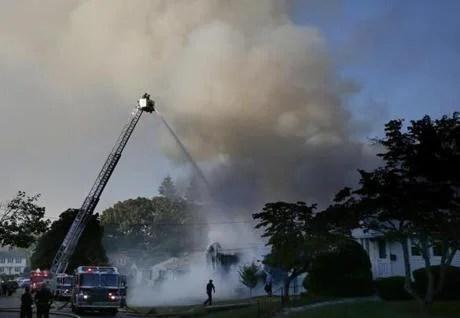 Lawrence, MA - 9/13/2018 - Crews work to strike a fire on Jefferson Street in Lawrence. (Jessica Rinaldi / Globe Staff) Topic: Reporter: