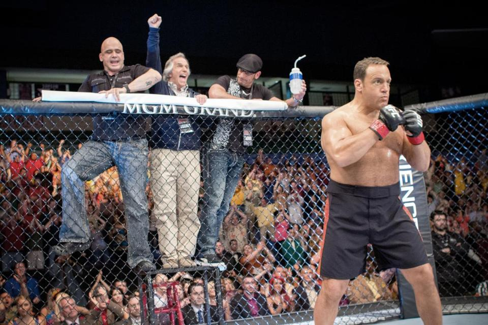 """From left: Bas Rutten, Henry Winkler, Mark DellaGrotte, and Kevin James star in """"Here Comes the Boom."""""""