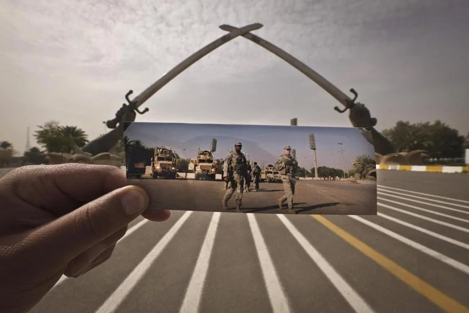 The scene at Iraq's crossed swords monument has changed since US soldiers were photographed at the site in 2008. Iraqi officials had started tearing down the archway in 2007 but quickly halted those plans and began restoring the monument tw o years ago.