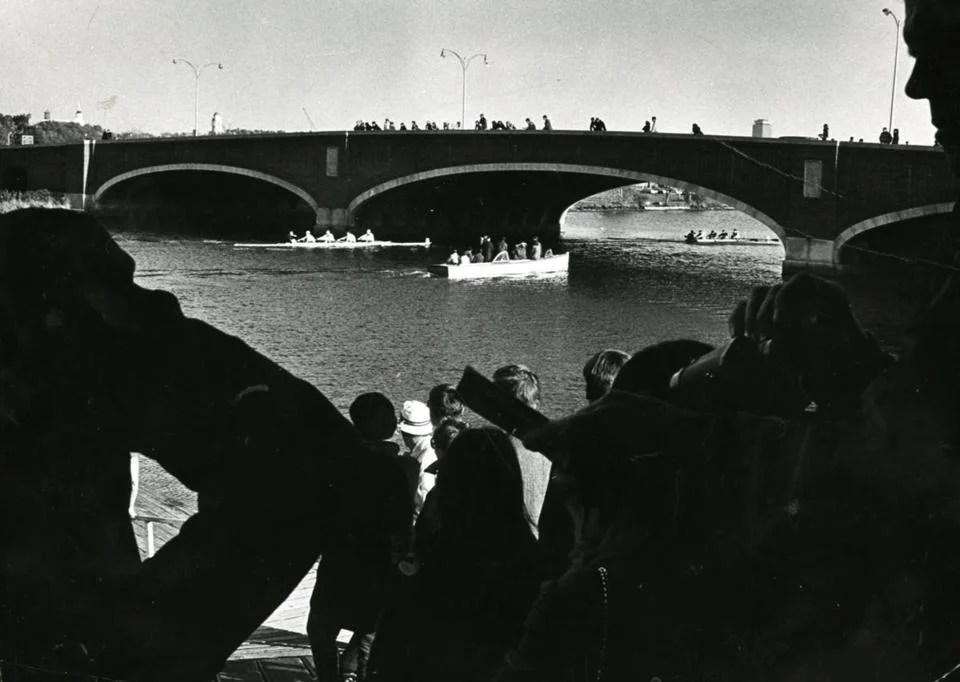 October 27 1968 / fromthearchive / Boston Globe Archive photo / The Eliot Bridge was only lightly populated with spectators in 1968<br />