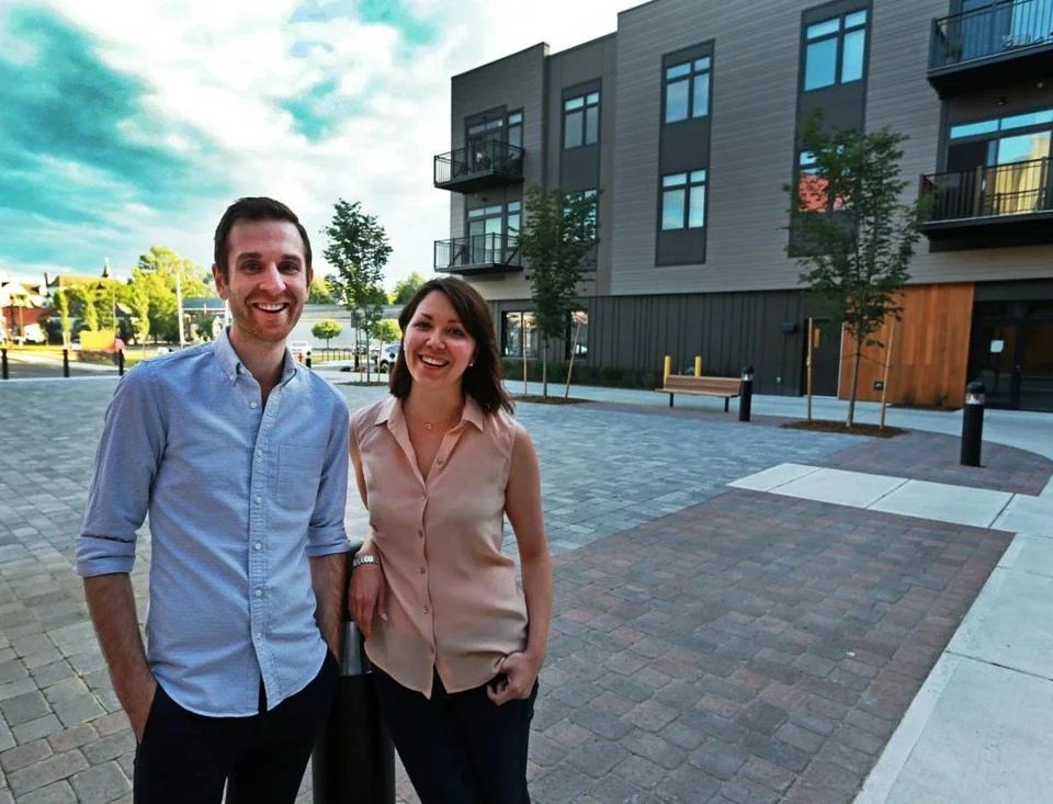 06/08/16: West Concord, MA: Evan and Alyssa Ozimek-Maier are pictured outside of the Brookside Square development where they reside. In the background left is part of West Concord Village. (Globe Staff Photo/Jim Davis) section:wewk topic: 19zotransit(3) (Globe Staff Photo/Jim Davis)