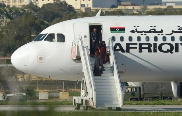 Passengers coming out of hijacked plane in Malta