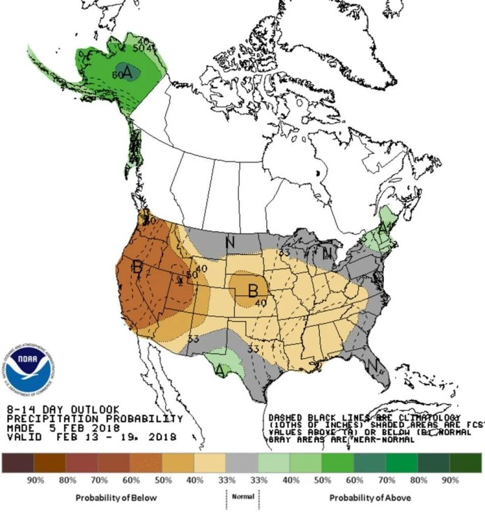 The probability of a wetter than average mid-February is highest over New England.