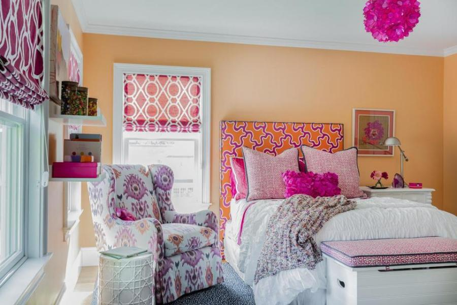 Style Watch  Peach walls and pink accents brighten up a girl s     Michael J  Lee