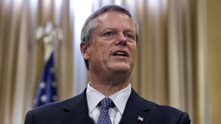 Gov. Charlie Baker addresses reporters after signing the 2019 budget at the Statehouse in Boston, Thursday, July 26, 2018. (AP Photo/Charles Krupa)