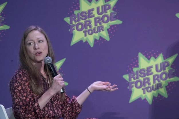 Chelsea Clinton speaks during the Rise Up For Roe national tour, Saturday, Aug. 11, 2018, in New York. (AP Photo/Mary Altaffer)