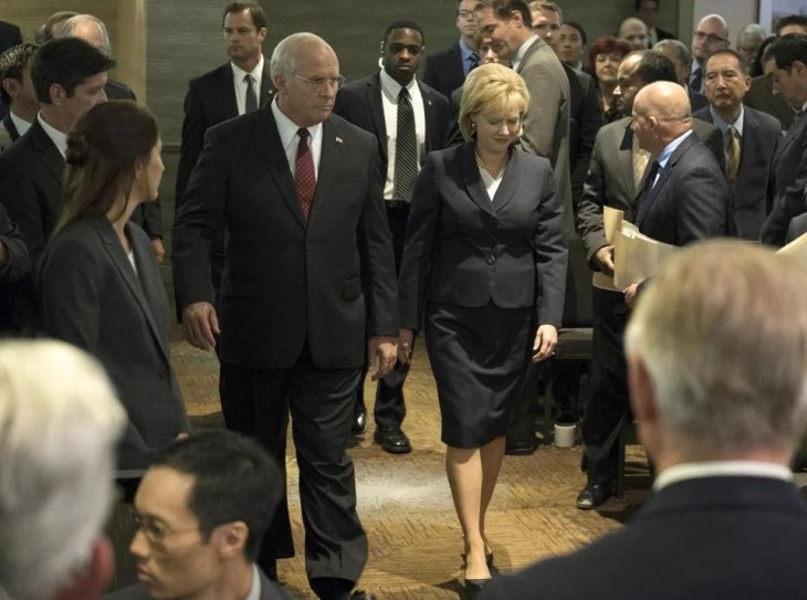 "Christian Bale (left) as Dick Cheney and Amy Adams as Lynne Cheney in a scene from ""Vice."""