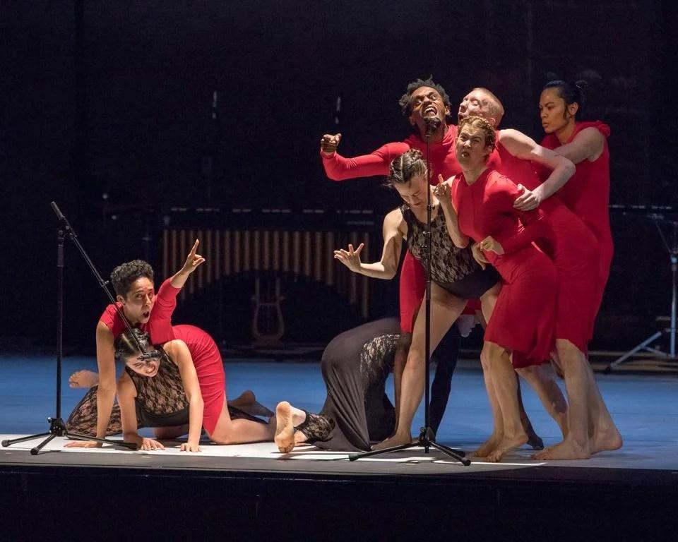 """Members of Ate9 Dance Company in """"calling glenn."""""""