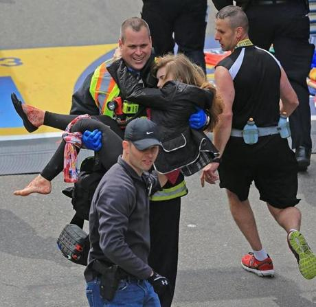Boston Firefighter James Plourde carried McGrath to safety after the bombs exploded on April 15, 2013.