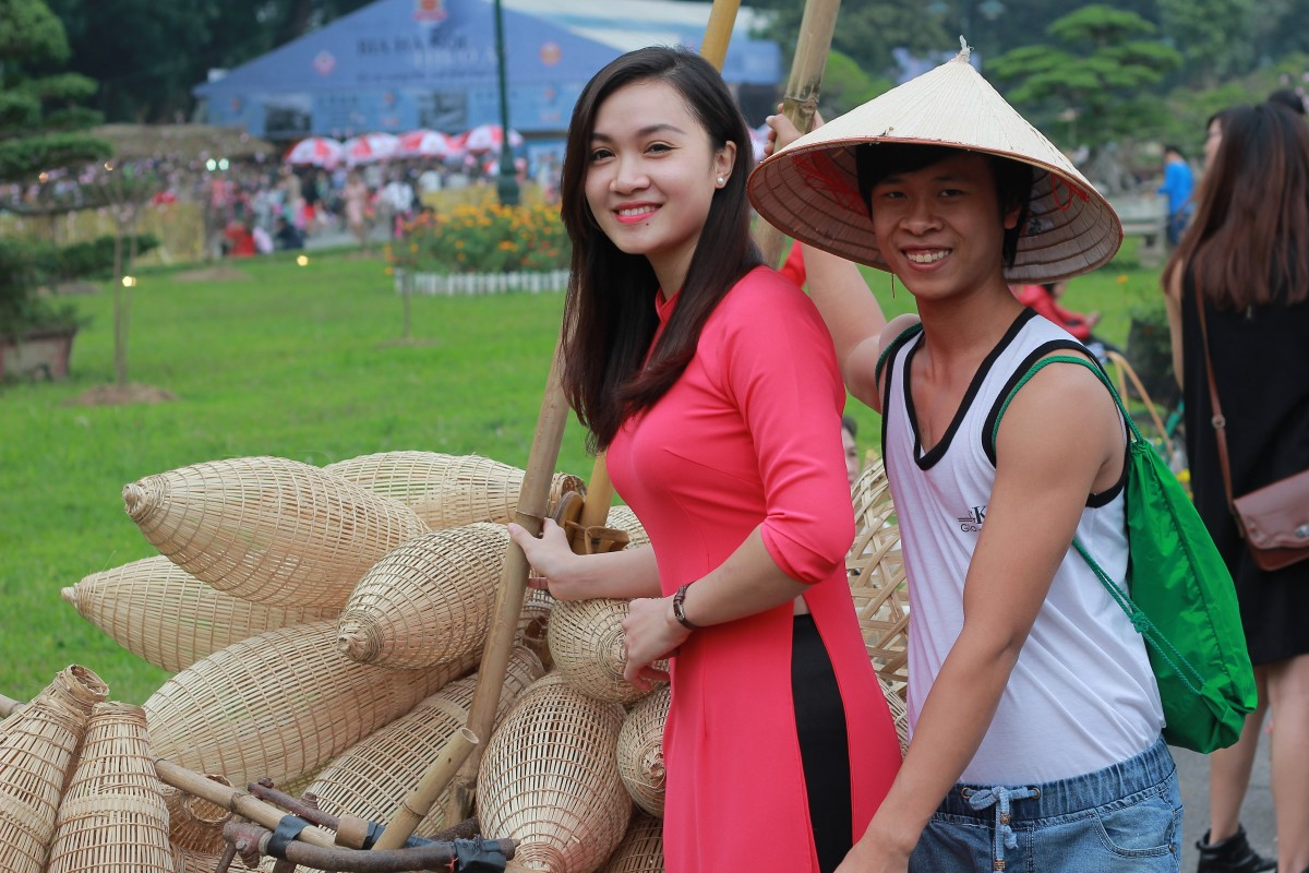 Free Images Bike Peaceful Hat Festival Dress Hanoi
