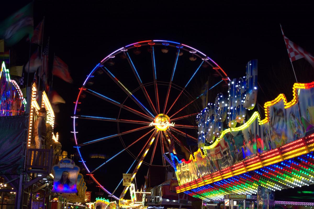 Free Images Ferris Wheel Amusement Park Long Exposure