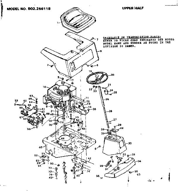 Diagram Dynamark Riding Mower Parts