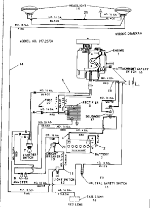 CRAFTSMAN Sears St 12 tractorwiring diagram Parts   Model