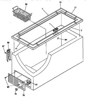 CABINET Diagram & Parts List for Model 2539159110 Kenmore
