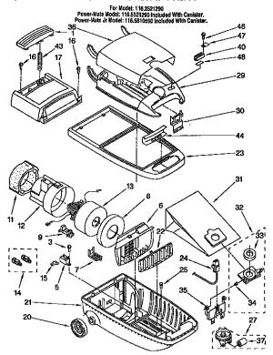 KENMORE VACUUM CLEANER Parts | Model 1162521290 | Sears