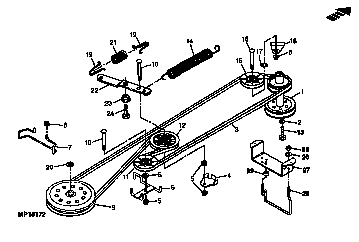 BELT DRIVE AND IDLERS Diagram & Parts List For Model