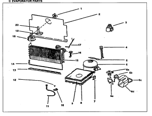 EVAPORATOR PARTS Diagram & Parts List for Model duf1700wey