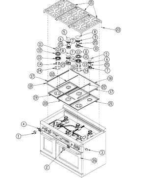 DACOR DUAL FUEL RANGE Parts | Model ER48DSCHLP | Sears PartsDirect