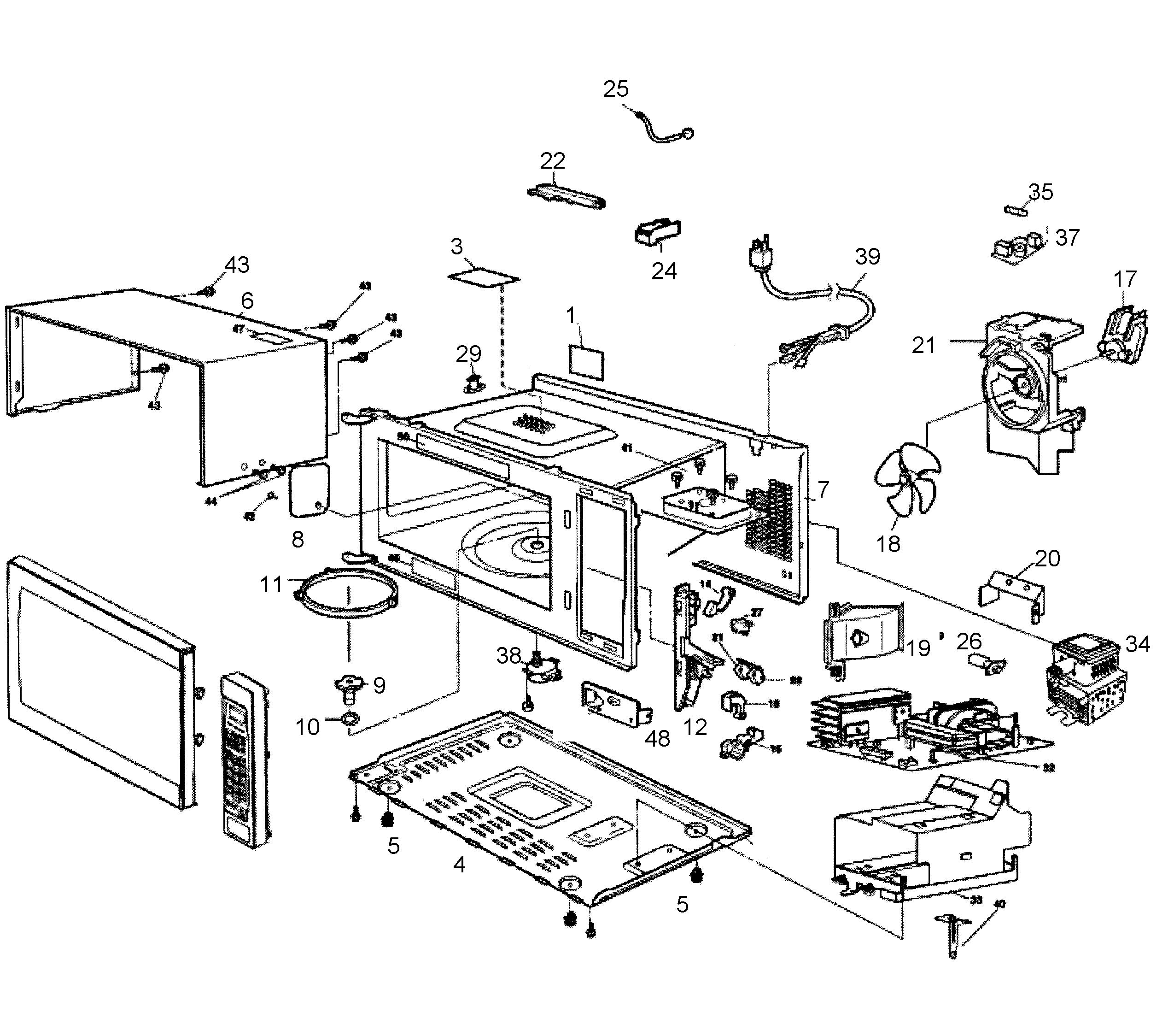 panasonic microwave parts diagram