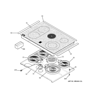 COOKTOP Diagram & Parts List for Model jcs968sf5ss GE