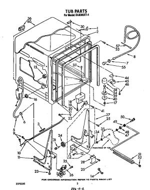 TUB Diagram & Parts List for Model du8300xt4 Whirlpool