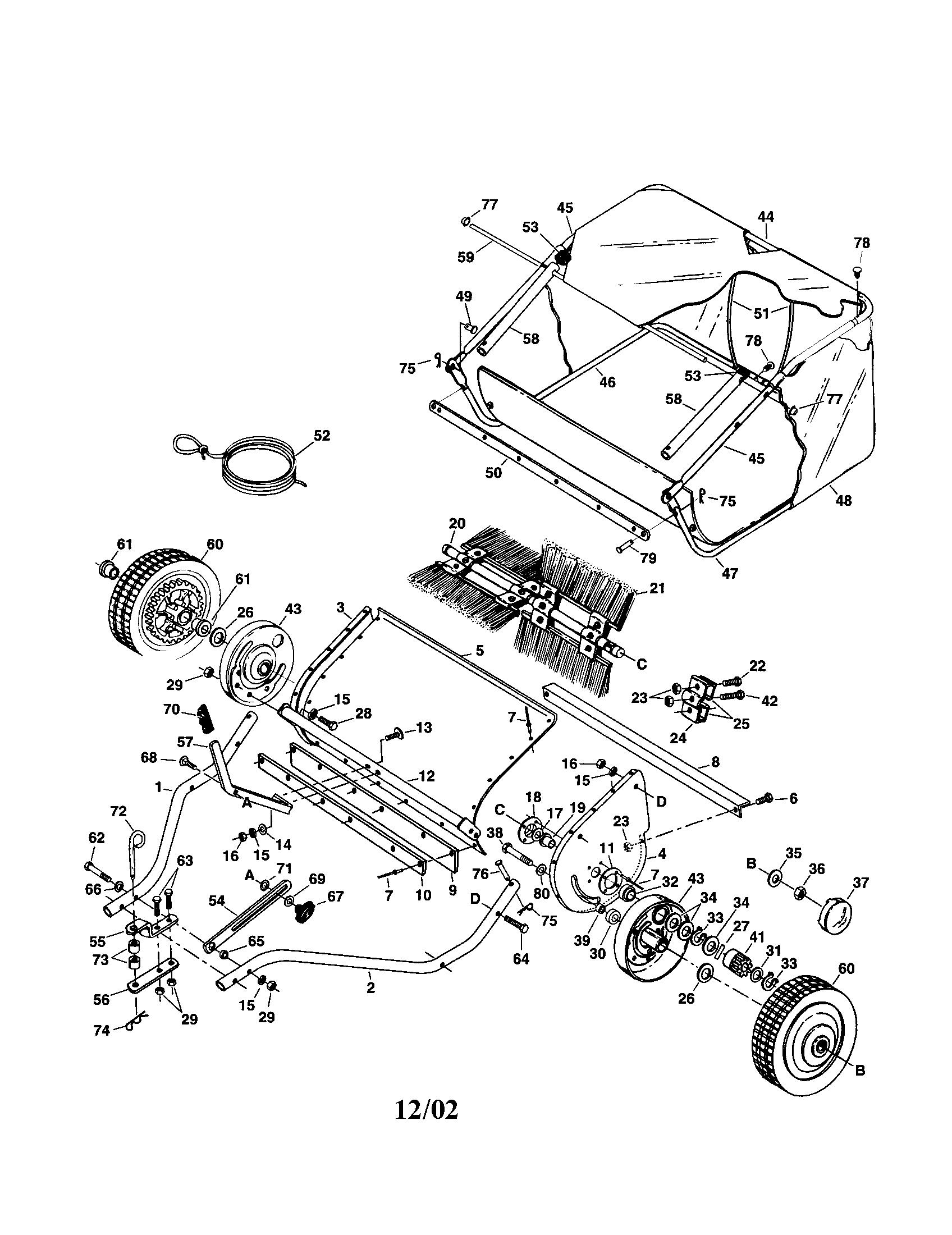 Agri fab model 45 02602 lawn sweeper genuine parts lawn sweeper manual lawn sweeper diagram