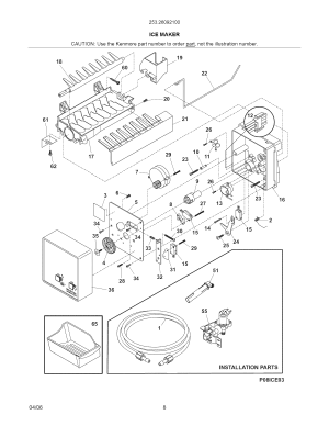 ICE MAKER Diagram & Parts List for Model 25326092100