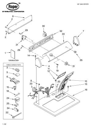 ROPER DRYER Parts | Model RGX4634KQ2 | Sears PartsDirect