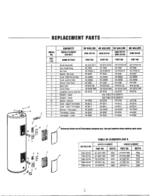 WATER HEATERREPLACEMENT PARTS Diagram & Parts List for