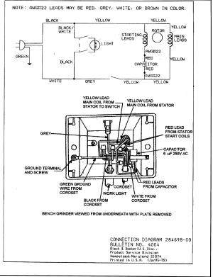 BlackDecker model 9407TY1 grinder bench genuine parts