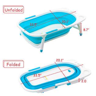 Goplus Blue Baby Folding Bathtub Infant Collapsible Portable Shower Basin W Block