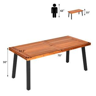 costway acacia wood outdoor dining