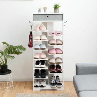 costway wooden shoe rack w fabric