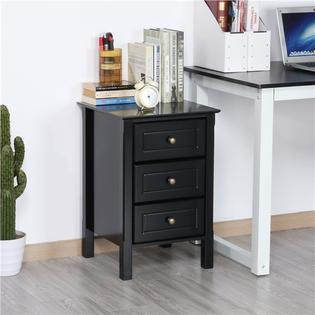 yaheetech wood 3 drawer nightstand with