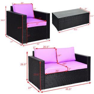 4pc rattan patio furniture set