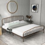 Gymax King Size Metal Bed Frame Steel Slat Platform W Headboard Footboard