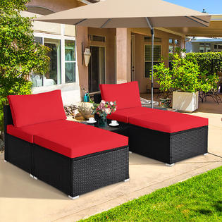 coffee table ottoman red cushion