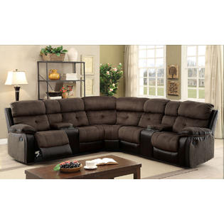 furniture of america living room recliner sectional w consoles brown espresso champion fabric leatherette sofa