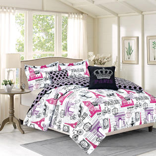 Howplumb Bedding Twin 4 Piece Girls Comforter Bed Set