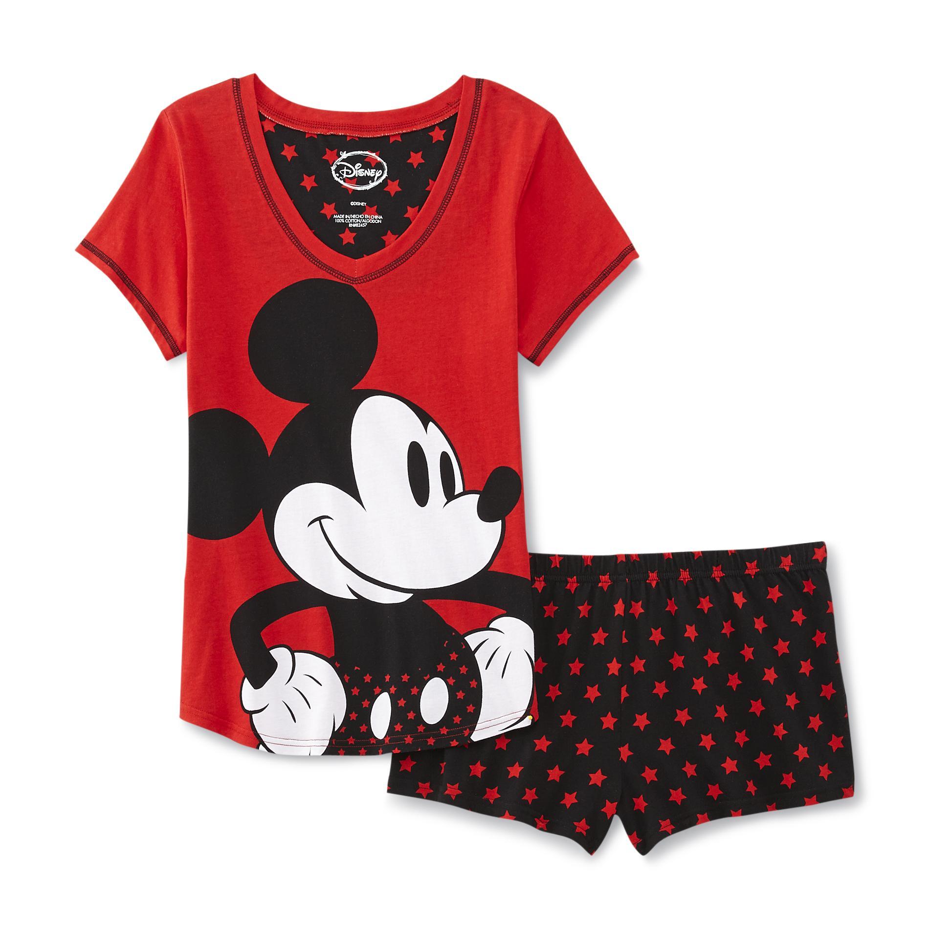 Disney Mickey Mouse Womens Pajama Shirt Amp Shorts