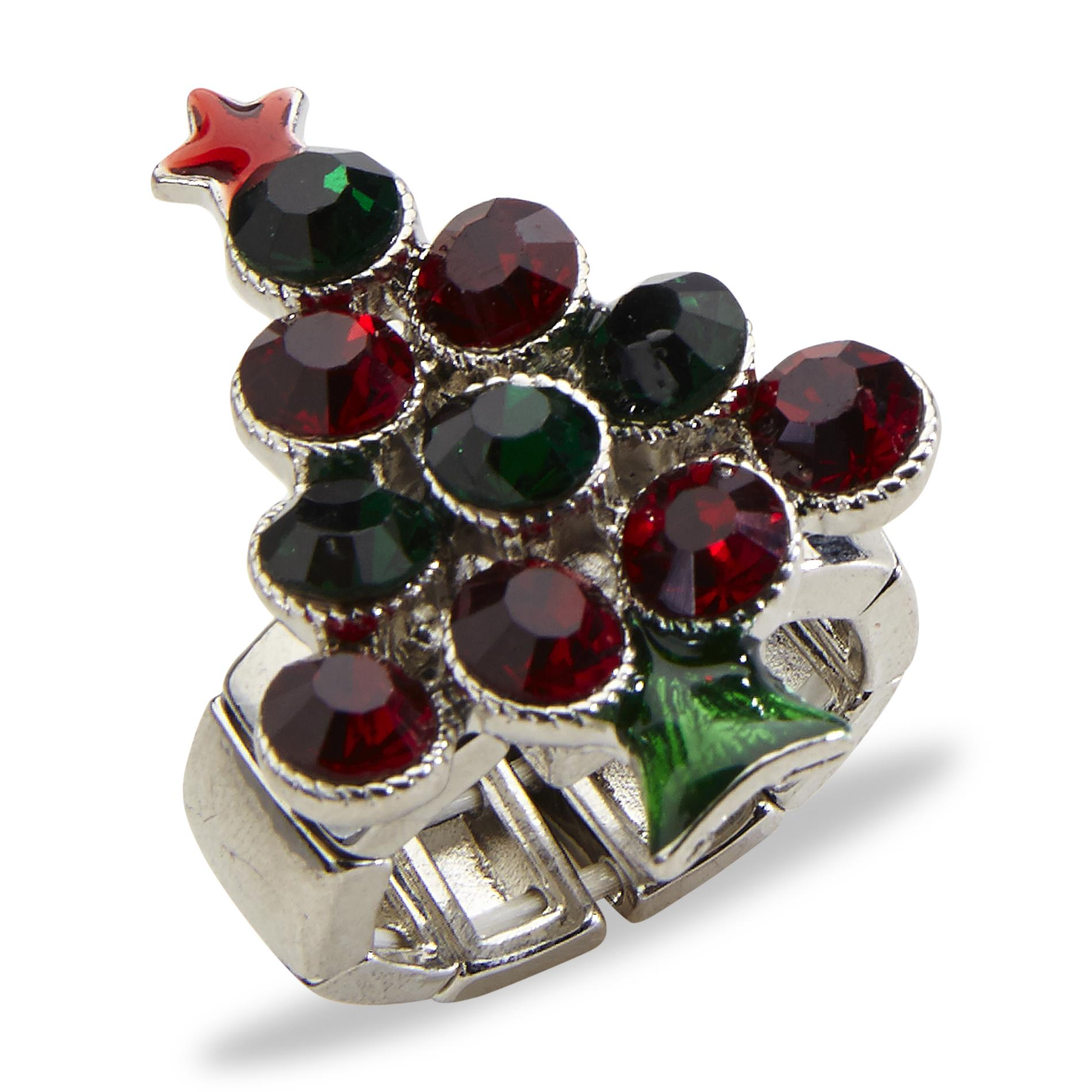 Holiday Editions Womens Silvertone Christmas Stretch Ring